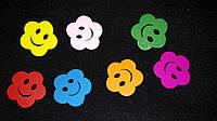 """Пуговки деревянные """"Цветочки с улыбкой"""" (1,8 см, 6 шт в упаковке) 10 гр."""