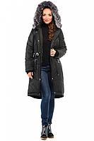 Длинная парка-пальто с мехом енота или искусственной овчиной Разные цвета