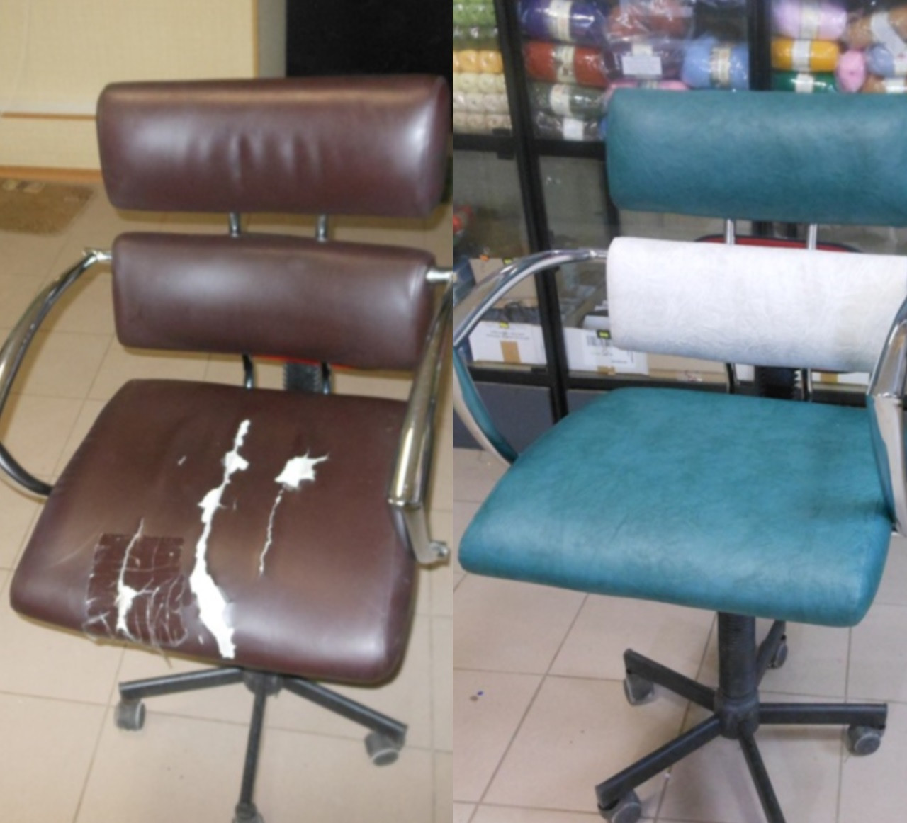 Перетяжка кресла для парикмахерской