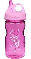 Детская пластмассовая бутылочка Nalgene на 350ml розовая с цветочками