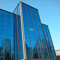 Архитектурное тонирование стёкол зеркальной солнцезащитной плёнкой Sun Control R Blue 15, фото 1