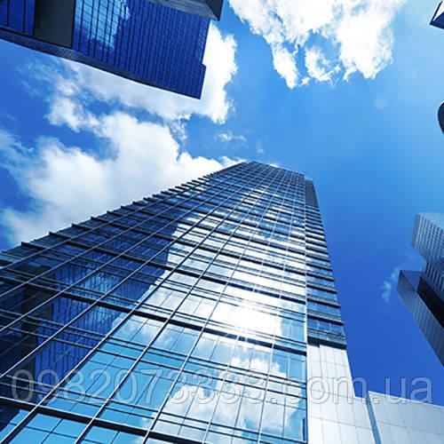 Архітектурна сонцезахисна тонування стекол металізованою плівкою Sun Control HP Blue 35