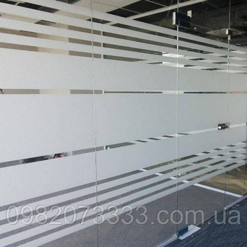 Тонировка стеклянных офисных перегородок декоративной матовой пленкой Sun Control White Out