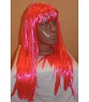 Маскарадный парик длинный с косичками красный
