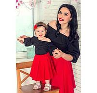 Очаровательный набор мама и дочка платья комбинированные