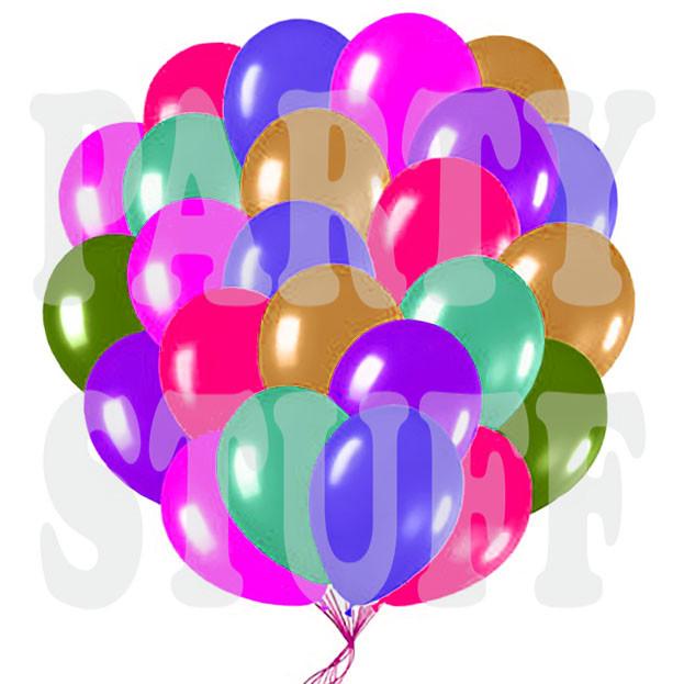 Воздушные шарики Gemar АМ80 металлик АССОРТИ 8' (21 см) 100 шт