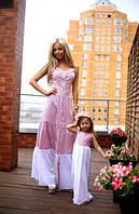 Модный набор мама и дочка платья в пол из хлопка