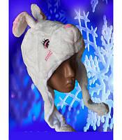 Шапка-маска зайца белая