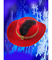 Шляпа мушкетера красная детская