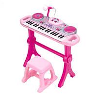 Детский синтезатор WinFun 2068G-NLсо стульчиком, розовый