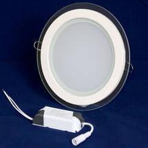 Светильник точечный светодиодный 18Вт врезной Biom круглый + стекло теплый белый свет, фото 3