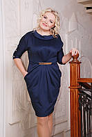 Размеры 50, 52, 54, 56.Платье женское батал Мимоза темно-синий большого размера трикотажное
