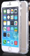 Серебряный бампер для Iphone 6 6S с камнями Сваровски, фото 1