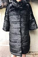 Женская черная шубка эко мех мутон
