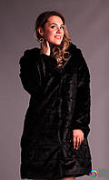 Женская черная шубка с капюшоном норка