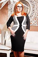 Размеры 50, 52, 54, 56, 58.Платье женское батал Валерия черное большого размера деловое красивое