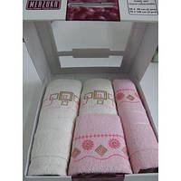 Полотенце Oran Merzuka с вышивкой 4 пр. Розовый