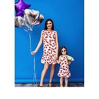 Изумительный набор мама и дочка платье принт вишни