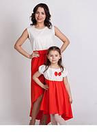Очаровательный набор мама и дочка платье контрастного цвета с украшением