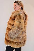 Шуба из меха лисы длина 90 см. Батал размер от 52 до 70
