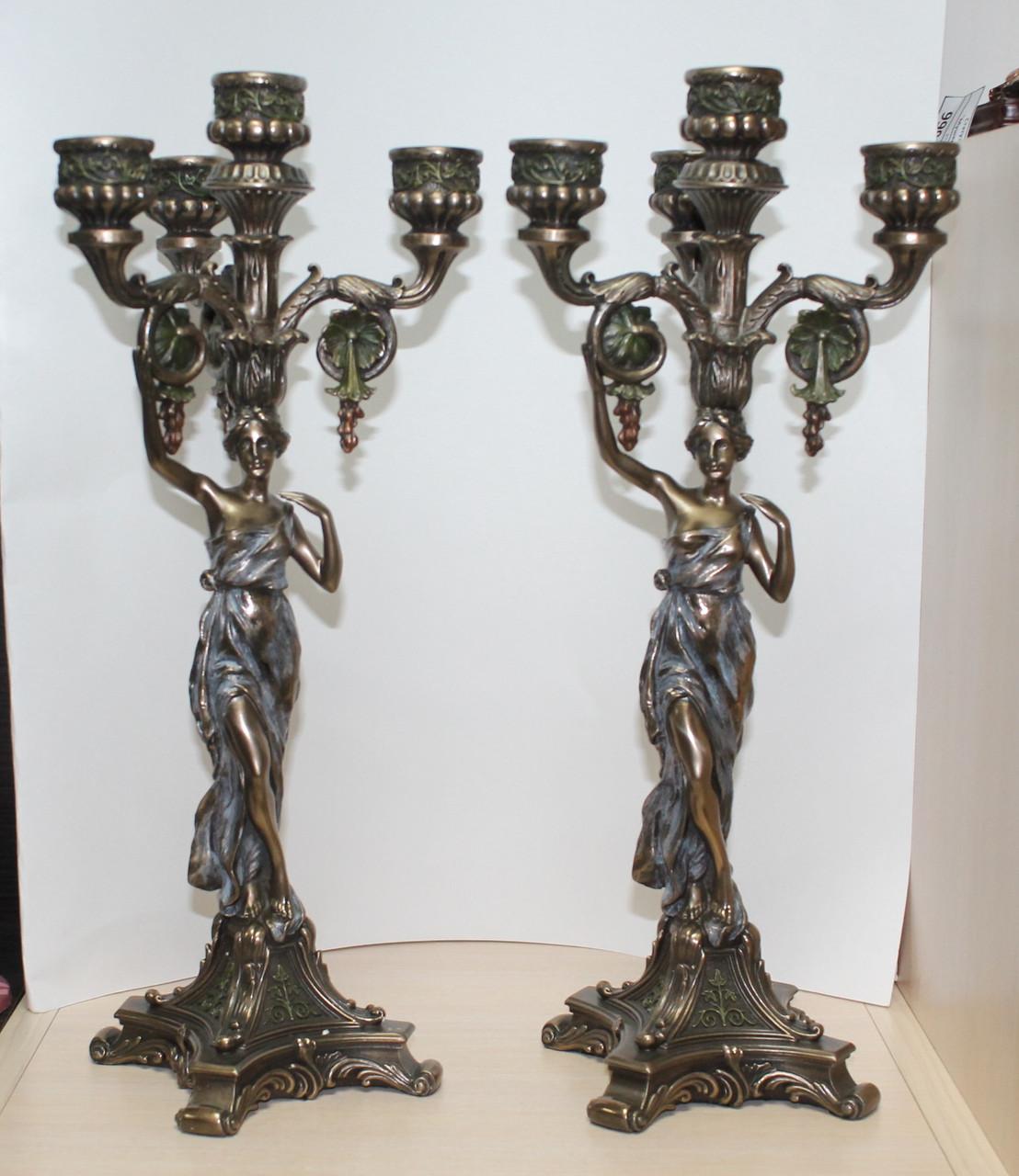 Набір свічників Veronese Античні дівчата з бронзовим покриттям
