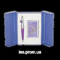 Набор подарочный Crystal Heart: ручка + визитница (LS.122008-07)