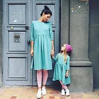 Стильный набор мама и дочка платьев свободный крой