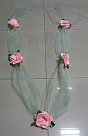 "Свадебная лента для авто ""5 роз"" (зеленая)"