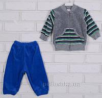 Спортивный костюм Татошка 08340 серый в зеленую полоску 98