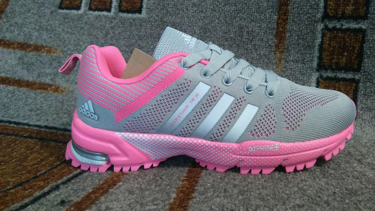 7ea50511 Женские беговые кроссовки Адидас марафон серые с розовым фитнес+бег+зал  люкс копия -