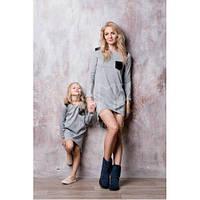 Стильный набор мама и дочка платье или туника с контрастной нашивкой