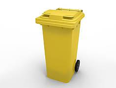Передвижной мусорный контейнер iPlast 120 л с крышкой  (желтый)
