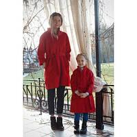 Стильное набор пальто мама и дочка с поясом длинный рукав