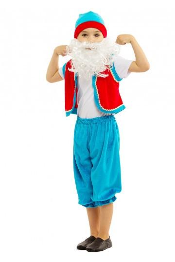 Детский маскарадный костюм Гнома сине-красный на 5-7 лет без бороды