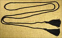 Пояс-шнурок шовковий, чорний