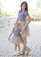 Набор мама и дочка платьев полоска низ сетка