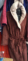 Мужской банный халат на запах Махра зеленый коричневый