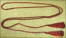Пояс-шнурок шовковий, червоно-чорний
