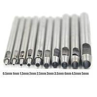 Набор дыроколов 0.5-5 мм 10шт для перфорирования и отверстий