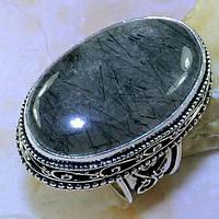 Интересный винтажный перстень.Турмалиновый кварц в серебре