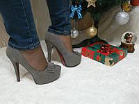 Туфли на высоком каблуке серые, фото 1