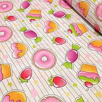 Ткань с изображением сладостей  №21