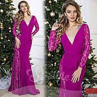Вечернее комбинированное платье с гипюром в расцветках 900 (901)
