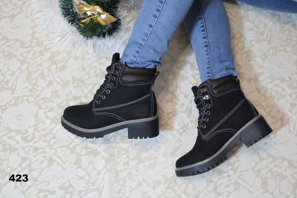 Ботинки тимберленды зимние женские черные