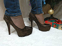 Туфли на высоком каблуке шоколадные, фото 1