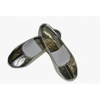 Танцевальные кожаные чешки серебро 26-30 размер
