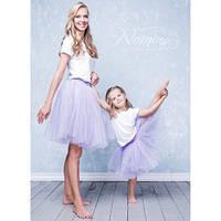Изумительный набор мама и дочка платьев низ фатин пышный