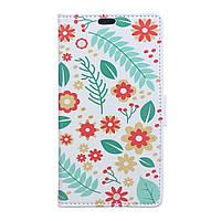 Чехол книжка TPU Wallet Printing для Lenovo K5 Note Flowers Leaves