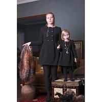 Набор мама и дочка платьев коротких с пуговицами в декоре