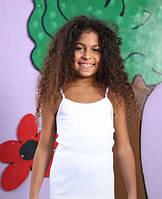 Рост.122 Майка для девочек белая на тонких лямках